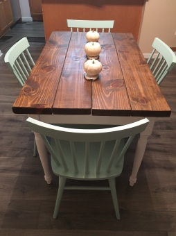 My Husband handcrafted this Farm Table
